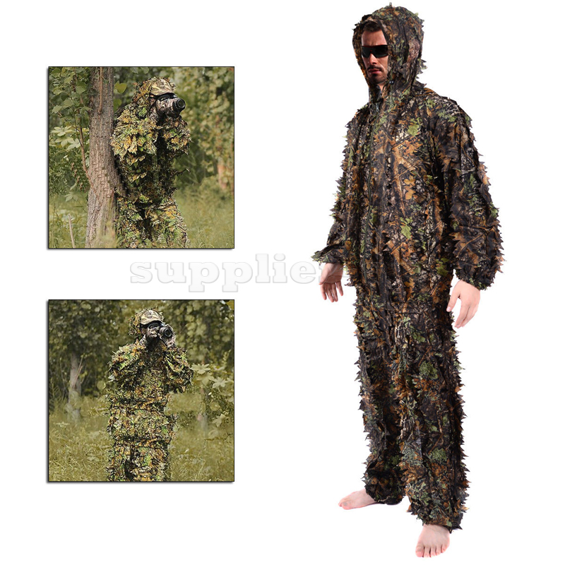 1e7914b7965ea 3D Leaf Ghillie Suit Woodland Camo Camouflage Clothing Jungle Hunting  Sniper M/L