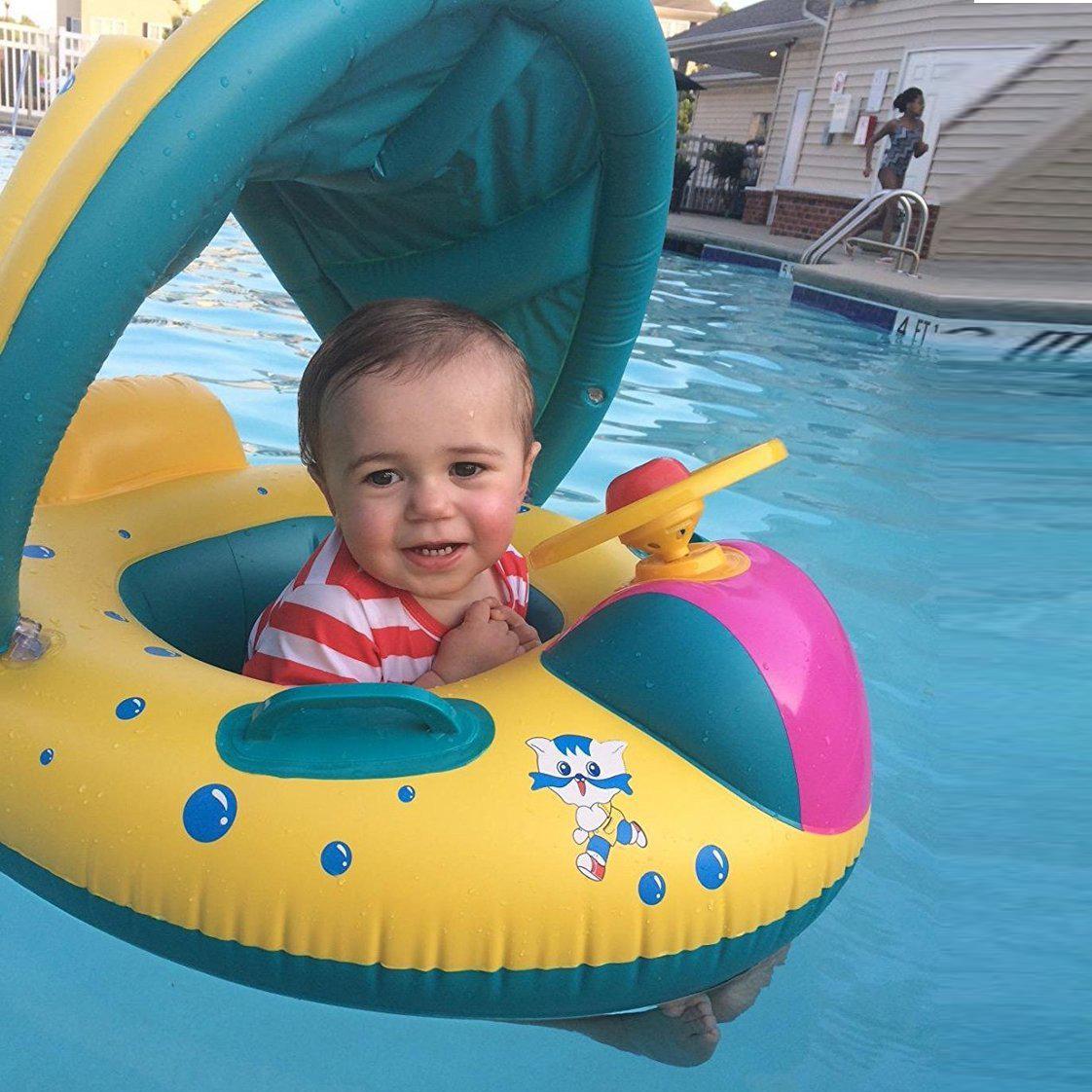 Inflatable Sunshade Baby Kids Toddler Float Seat Boat Swimming Pool Ring Raft Au Ebay