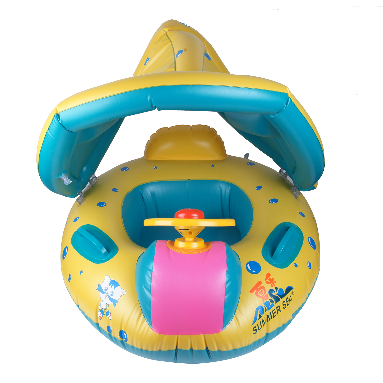Baby Float Seat Boat Inflatable Ring Adjustable Sunshade