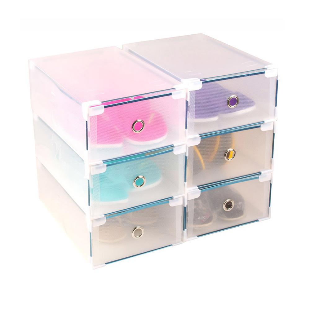 10xwomen clear stackable foldable plastic shoe storage. Black Bedroom Furniture Sets. Home Design Ideas