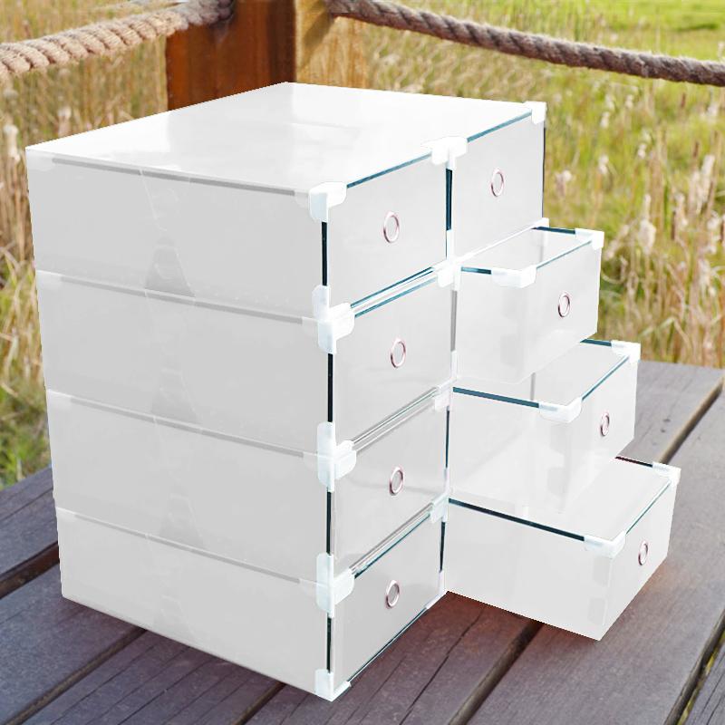 10x bo te chaussures plastiques transparentes pliables range chaussures stockage ebay. Black Bedroom Furniture Sets. Home Design Ideas