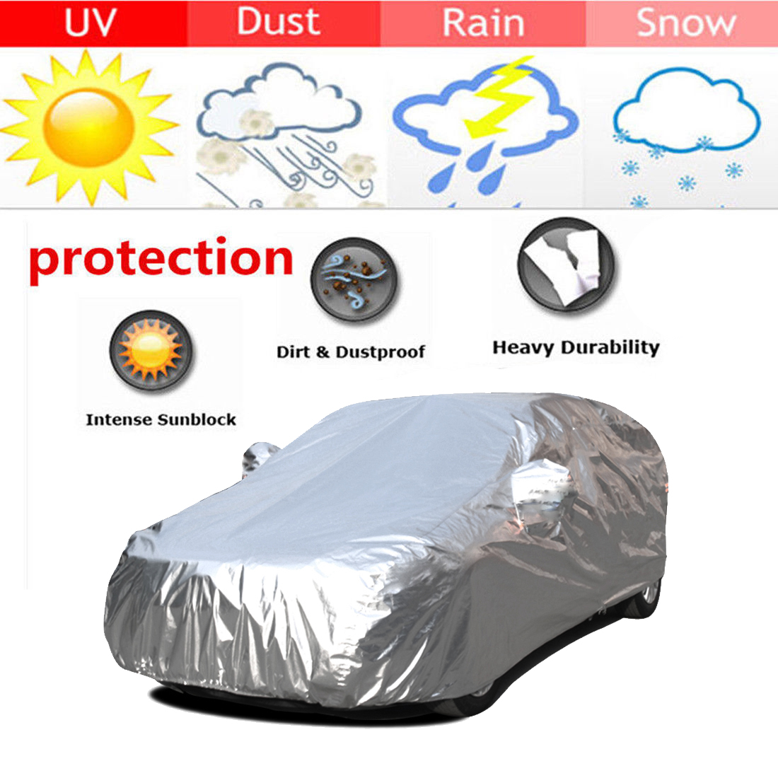 voiture b che housse de protection anti uv couvre tanche car cover taille l ebay. Black Bedroom Furniture Sets. Home Design Ideas